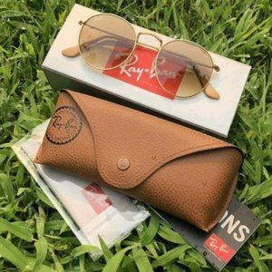 New Ray-Ban Round RB3447 Sunglasses Brown Gradient